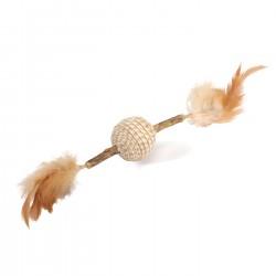 Camon | Stick Matatabi avec plumes et balle en jute | Jouet pour chat
