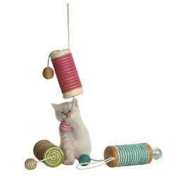 Bobby Circus | Jouet pour chat à suspendre | Griffoir cylindre et balles en sisal