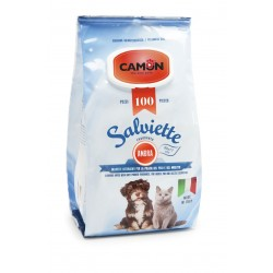 Camon   100 lingettes nettoyantes chien et chat   Senteur ambre