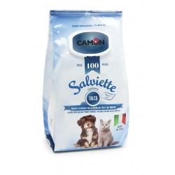 Camon   100 lingettes nettoyantes chien et chat   Senteur Talc