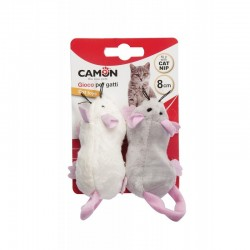Camon | Lot de 2 souris en peluche avec herbe à chat