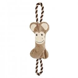 Bubimex   Jouet pour chien 2 en 1 peluche singe avec corde