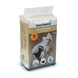 Beeztees | Couches jetables pour chienne de 7 à 16 kg | 12 couches noires taille M