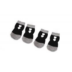 Camon   4 Chaussettes noires antiglisse pour chien