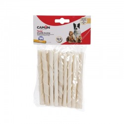 Camon | 25 sticks torsadés 100% peau de buffle | Friandise pour chien et chiot