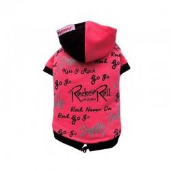 Doggy Dolly   Sweat à capuche Rock' n Roll pour bouledogue et carlin   Rose