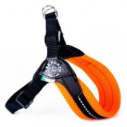 Tre Ponti Classico | Harnais pour petit chien et chat avec sangle réglable | Orange Fluo