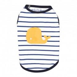 Bobby Ocean | T-shirt pour chien marinière et baleine jaune