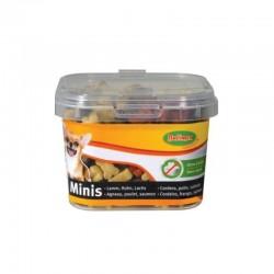 Bubimex | Minis - Boîte de friandises pour chien | Petits os au poulet, agneau et saumon | 140 g