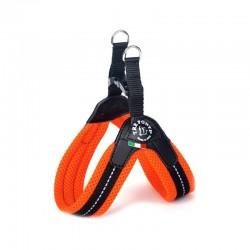 Tre Ponti Pile | Harnais avec clip pour petit chien ultra confortable et pas cher | Orange Fluo