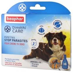 Beaphar DimethiCARE | 6 pipettes antiparasitaire naturelles | Chien de 15 à 30 kg