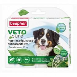 Beaphar VETOpure | 6 pipettes répulsives antiparasitaires chien + 30 kg