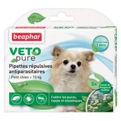 Beaphar VETOpure | 3 pipettes répulsives antiparasitaires chien de - 15 kg