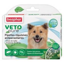 Beaphar VETOpure | 3 pipettes répulsives antiparasitaires chien 15 kg-30 kg