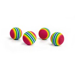 Beeztees | Sachet de 4 balles multicolores en mousse pour chat et chaton