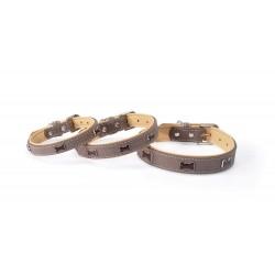Collier pour chien en cuir décor os TIMBER