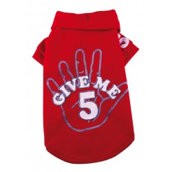 """Doggy Dolly   T-shirt """"Give me 5"""" pour chien   Rouge"""
