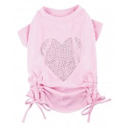 Doggy Dolly   T-shirt pour chien avec cœur brillant et nœud   Rose