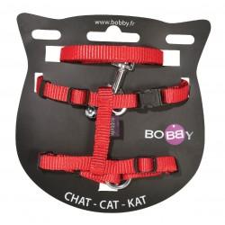 Bobby   Harnais en nylon pour chat avec laisse et grelot