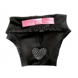 Camon | Culotte hygiène fantaisie | Noir avec cœur en strass