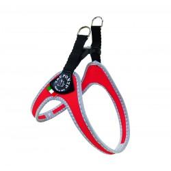 Tre Ponti Classico | Harnais uni pratique pour petit chien avec clip | Rouge