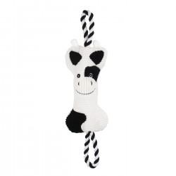 Bubimex | Jouet pour chien 2 en 1 peluche vache avec corde