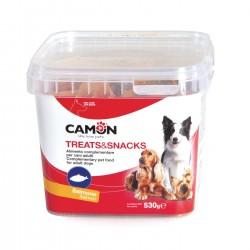 Camon | Biscuits fourrés au saumon | Boîte de friandises pour chien de 530 g